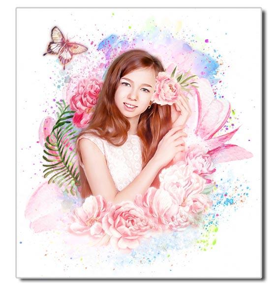 Цветочный арт портрет